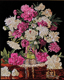 Peonies Vase Counted Cross Stitch Kit By Design Works