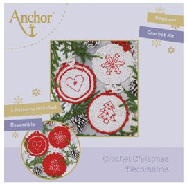 Crochet Kit: Circle Christmas Decorations: Red by Anchor