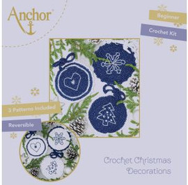 Crochet Kit: Circle Christmas Decorations: Blue by Anchor