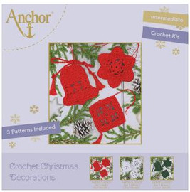 Crochet Kit: Christmas Tree Decorations: Red by Anchor