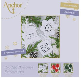 Crochet Kit: Christmas Tree Decorations: White by Anchor