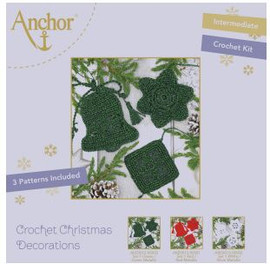 Crochet Kit: Christmas Tree Decorations: Green by Anchor