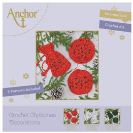 Crochet Kit: Christmas Tree Decorations: Red Round by Anchor