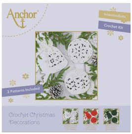 Crochet Kit: Christmas Tree Decorations: White Round by Anchor