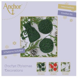 Crochet Kit: Christmas Tree Decorations: Green Round by Anchor