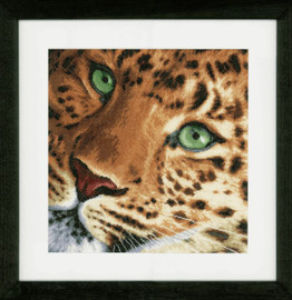 Leopard Counted Cross Stitch Kit Evenweave by Lanarte