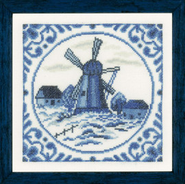 Delft Windmill Counted Cross Stitch Kit by Lanarte
