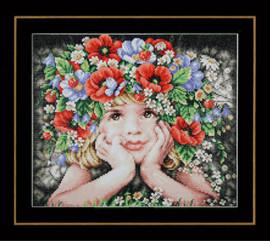 Girl with Flowers Diamond Painting Kit by Lanarte