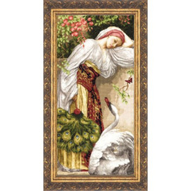 Girl With A Swan Cross Stitch Kit by Golden Fleece