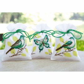 Bird & Butterfly Counted Cross Stitch Pot-Pourri Bag By Vervaco