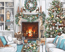White Christmas Interior Cross Stitch Kit By Luca-S