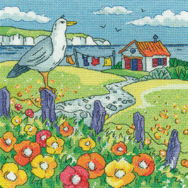 Poppy Shore counted cross stitch kit by Heritage crafts