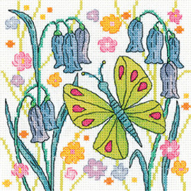 Green Butterfly Counted Cross stitch kit by Heritage Crafts