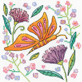 Orange Butterfly Counted Cross Stitch kit by Heritage Crafts