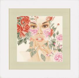 Flower Face Cross Stitch Kit  on evenweave by Lanarte