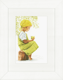 Girl With Apple Cross Stitch Kit on Evenweave By Lanarte