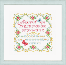 Alphabet and Roses Cross Stitch Kit by Vervaco