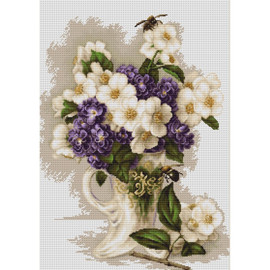 Vase with Jasmine Counted Cross Stitch Kit by Luca- S