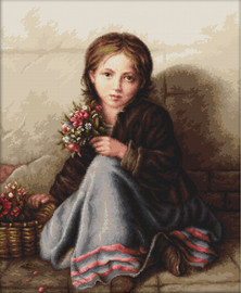 Little Flower Girl Counted Cross Stitch Kit by Luca- S
