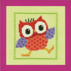 Red Owl Cross Stitch Kit by Vervaco