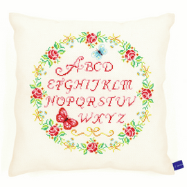 Alphabet and Roses Cushion cross Stitch kit by Vervaco