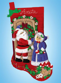 Mr and Mrs Claus Stocking Christmas Crafts Kit By Design Works