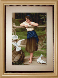 Girl Playing with Pigeons Counted Cross Stitch Kit by Luca-S