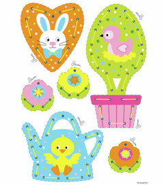 Set of 2 Easter Hanging Decorations Embroidery Card Kit by Vervaco