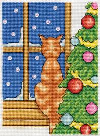 Cat on Windowsill Christmas Cross Stitch Kit by Design Works