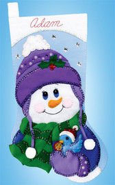 Snowman with Bird Christmas Stocking Making Kit by Design Works