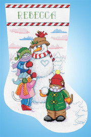 Snowman and Cats Christmas Stocking Making Kit by Design Works