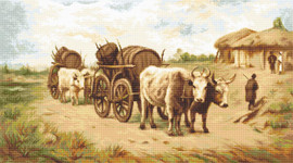 Cart with Oxen Counted Cross Stitch Kit By Luca S