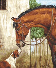 Hunter and Foxhound Counted Cross Stitch Kit By Luca S