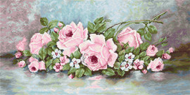 Pink Roses Counted Cross Stitch Kit By Luca S