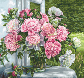 Peonies by the Window Counted Cross Stitch Kit By Luca S