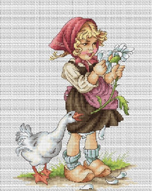 Girl with Goose Counted Cross Stitch Kit By Luca S