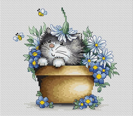 Kitten with Flowers Counted Cross Stitch Kit By Luca S