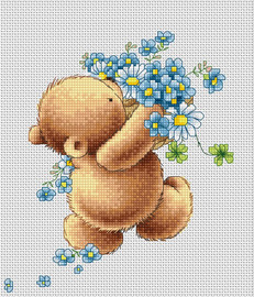 Bear with Forget-Me-Nots Counted Cross Stitch Kit By Luca S
