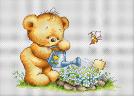 Bear with Watering Can Counted Cross Stitch Kit By Luca S