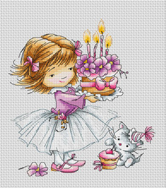 Girl with Kitten and Cake Counted Cross Stitch Kit By Luca S