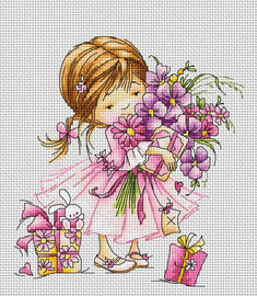 Girl with Bouquet Counted Cross Stitch Kit By Luca S