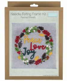 Festive Wreath Needle Felting Kit with Frame by Trimits