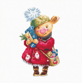 Christmas Pig Counted Cross Stitch Kit By Luca S