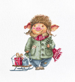 Winter Pig Counted Cross Stitch Kit By Luca S