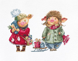 Christmas Pigs Counted Cross Stitch Kit By Luca s