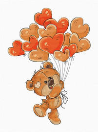 Teddy Heart Balloons Counted Cross Stitch Kit By Luca S