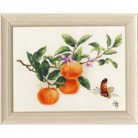 Tangerine Branch Cross Stitch Kit by Golden Fleece