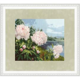 Blooming Peonies Cross Stitch Kit by Golden Fleece