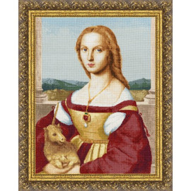 Young Women With Unicorn Cross Stitch Kit By Golden Fleece