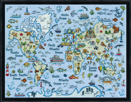 World Map Counted Cross Stitch Kit By Design Works